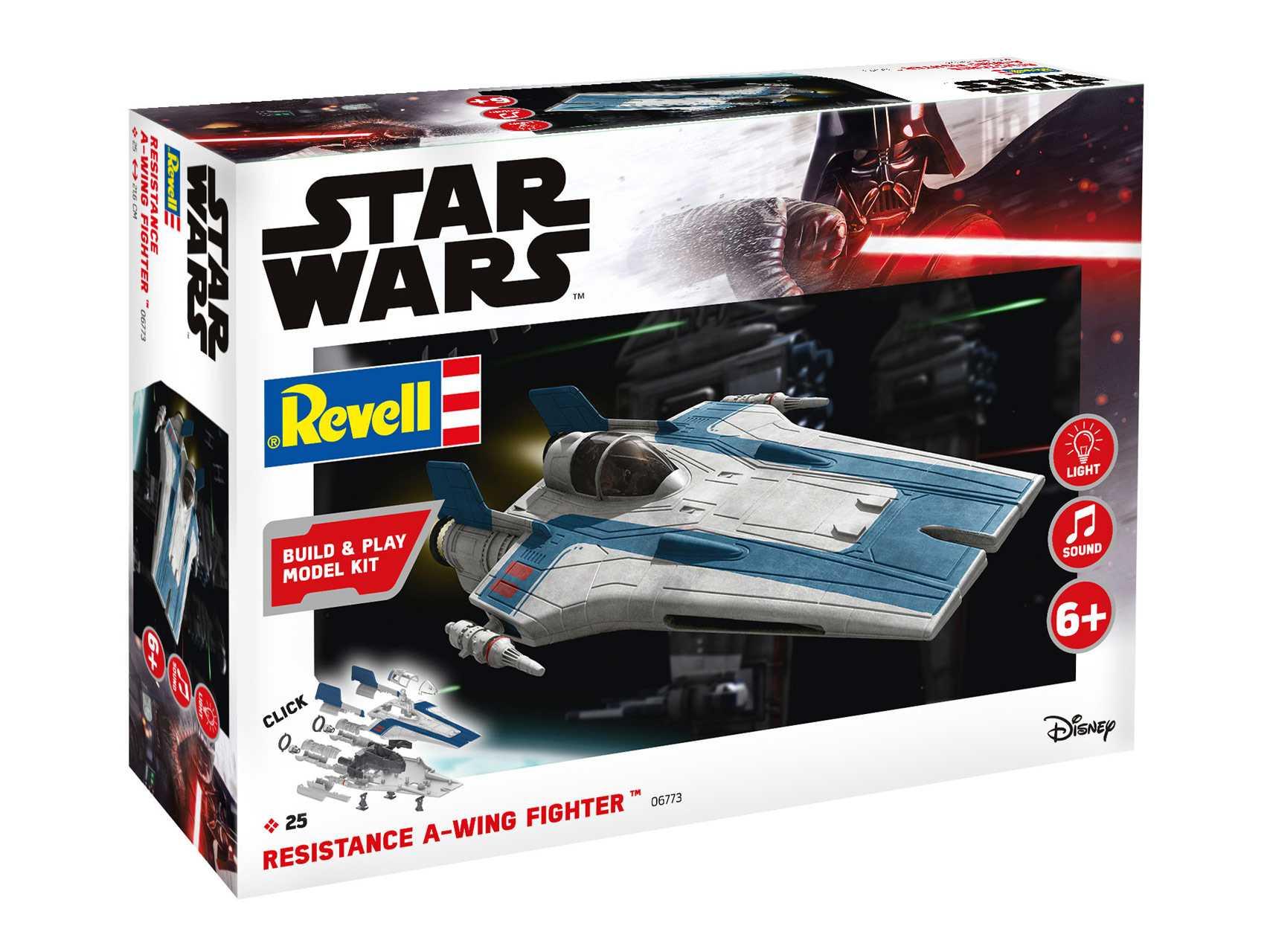 1:44 Resistance A-wing Fighter (Blue) – světelné a zvukové efekty (Build & Play)