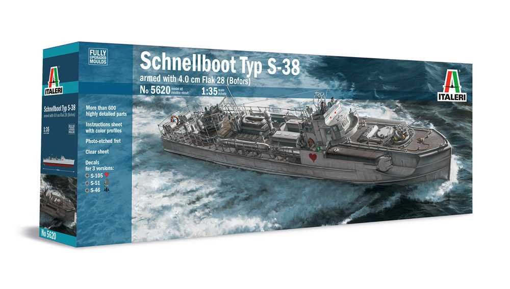 Model Kit loď 5620 - SCHNELLBOOT S-38 with Bofors (1:35)