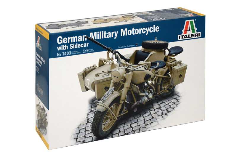 1:9 German Military Motorcycle with Sidecar