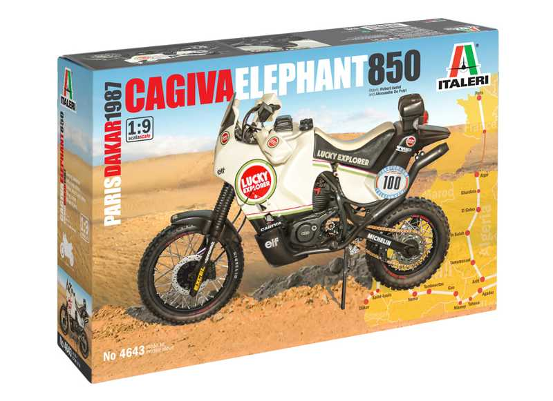 1/9 Plastikový model - motorka 4643 - Cagiva Elephant 850 Paris-Dakar 1987
